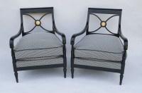 Paire de fauteuils de style Empire en laque noire, Maison Jansen, années 1940