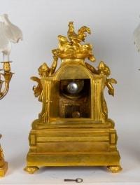 Garniture de cheminée en bronze doré 19e siècle