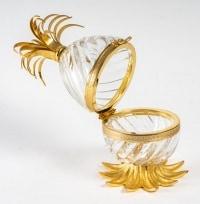 Bonbonnière Œuf en Cristal et Bronze Doré