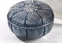 """René lalique boite """"coquille"""" patinée bleue"""