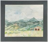 Paysage de Montagne, Aquarelle sur Papier, XX siècle. Evelyne Luez