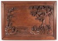 Panneau En Bois Sculpté, Chine, XXème Siècle, Décoration d'Intérieur