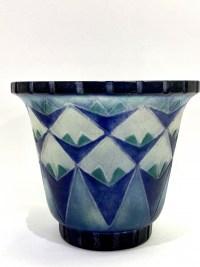"""Vase """"Palmettes"""" pâte de verre bleue, turquoise et blanche de Gabriel ARGY-ROUSSEAU"""