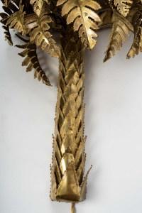 Applique palmier en laiton, 2 lumières, XXème siècle