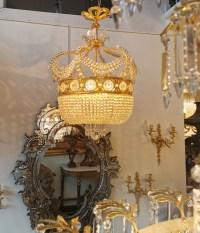 Antiquaire Paris Galerie De Santos - lustre bronze cristal