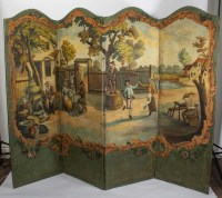 Paravent en toile peinte, 1ère moitié du XIXème siècle.