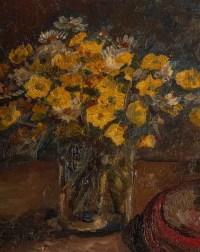 Huile sur toile encadrée, milieu XXème, bouquet de fleurs jaune et troubadour