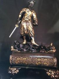 Samouraï Japonnais en bronze, à patine brune, or et argent. Réf: 317