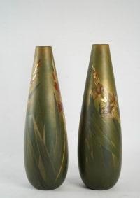 Clément Massier (1845 - 1917 ) - Grande paire de vases en céramique, art nouveau.