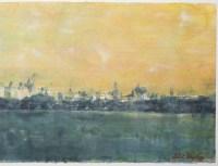 "Grande aquarelle de Norbert Waysberg, ""Central Park"", 2018"
