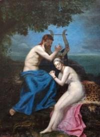 """Orphée et Eurydice, huile sur toile, signée et datée en bas à gauche """"A.M. Roucoule, 1877"""""""