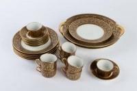 Service gâteaux & tasses à café, noir et or, Legrand Limoges 1915