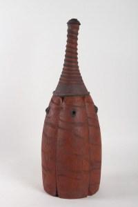 bouteille carapace par Emmanuel Peccatte ( 1974 - 2015 ) - céramique contemporaine