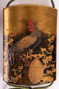 Inro à 4 compartiments et netsuke en buis signés kajikawa + Okatomo