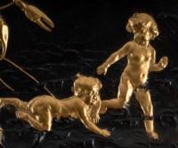 Important vide poche en bronze à double patine doré et brune
