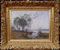 JAPY Louis Aimé Ecole Française Peinture 19ème Siècle Ecole de Barbizon Huile Sur Toile signée Vaches à la mare