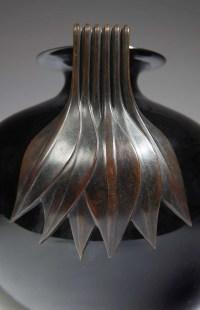 """René Lalique Vase """" Senlis """" dit aussi """" Anses bronze feuilles """" - 1925"""