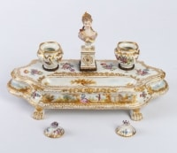 Encrier en porcelaine de Meissen 19e Napoléon III