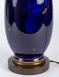 Lampe bleu marbré de Sèvres 1925