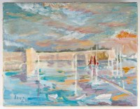 Le port, huile sur toile, XXème siècle .