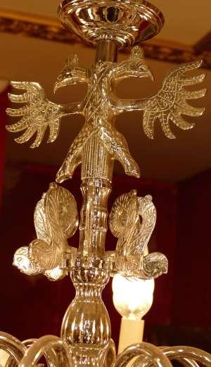 LUSTRE ANCIEN DE STYLE HOLLANDAIS 20ème SIECLE EN METAL CHROME LUMINAIRE 16 LUMIERES