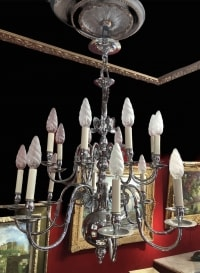 LUSTRE ANCIEN DE STYLE HOLLANDAIS 20ème SIECLE EN METAL CHROME LUMINAIRE 16 LUMIERES