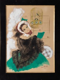 Watercolor, Belle Epoque, 1900-1920, Signed Renée Michèle, Paris