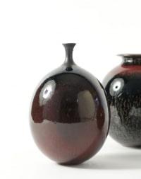 Paul Badié - 2 porcelaines à couverte rouge sur tenmoku