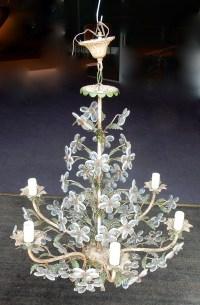 1970' Lustre cristal et fer peint Vert et Blanc style Maison Bagués