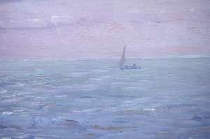 """Huile sur panneau, titre au dos """"Pescatori"""" et signé F.Morella, circa 1920"""
