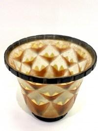 """Vase """"Palmettes"""" pâte de verre orange, jaune et marron de Gabriel ARGY-ROUSSEAU"""