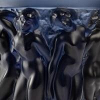 """Vase Lalique, bleu nuit """"Bacchantes"""""""