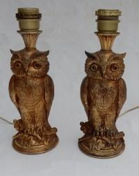 1970′ Paire De Lampes à La Chouette Résine Dorée