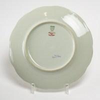 """Suite de 12 Assiettes """"Nicole"""" porcelaine celadon de HAVILAND d'après un dessin de Suzanne LALIQUE"""