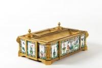 Encrier en bronze doré et plaques de porcelaine époque Napoléon III