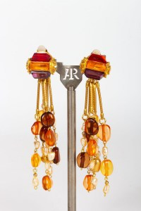 Boucles d'oreilles en pierres violettesbronze doré et verre brun