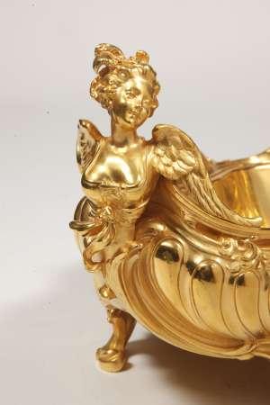JARDINIERE EN BRONZE DORE DE STYLE LOUIS XV, XIXÈME