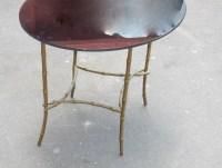 1950/70 Table Basse Plateau Verre Noirci  Maison Bagués en Laiton