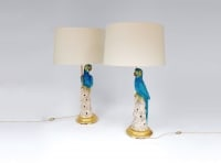Paire de lampes perroquets bleus faience 1970