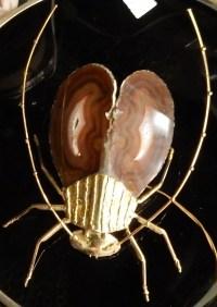 1970'Applique Eclairante A la Cigale en Bronze Doré et Agates Style Duval Brasseur Ou Isabelle Faure 25 X 35 cm