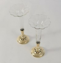 Paire of bud vases, cristal and gold gilt bronze and gold leaf. 19th Century Napoleon III.
