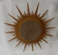 1950/70 ' Miroir Soleil Bois Doré Convexe Diamètre 87 Cm