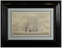 Armada sur mer calme - Willem Van de Velde II (1633 – 1707)