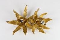 """Ensemble de 3 Grandes Appliques doubles modèle 'Lotus"""" en Bronze de Paul Moerenhout, 1970."""
