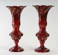 Paire de vase en cristal de Bohème