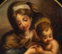 Vierge à l'enfant , peinture en rond ,XIXème