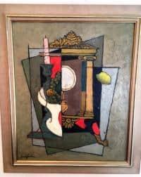 Superbe tableau post cubiste par Clément Serveau, France , 1970's