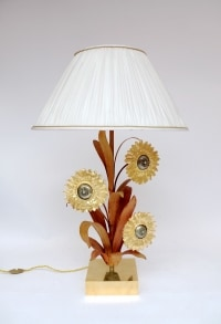 Grande lampe en laiton et bronze doré et argenté, motifs tournesols, années 1970