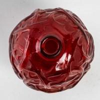 """Vase """"Ronces"""" verre rouge double couche de René LALIQUE"""