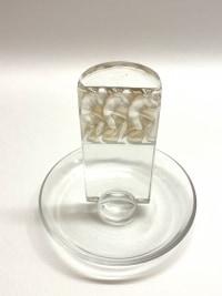 """Cendrier Baguier """"Athlètes"""" verre blanc patiné sépia de René LALIQUE"""